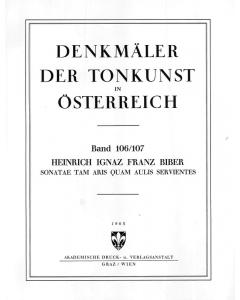 Biber, Heinrich I. F..: Sonatae Tam Aris Quam Aulis Servientes (SCORE)