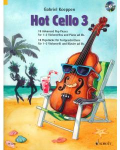 Hot Cello 3 - 18 Advanced Pop Pieces for 1-2 Violoncellos and Piano (Gabriel Koeppen) - incl. CD
