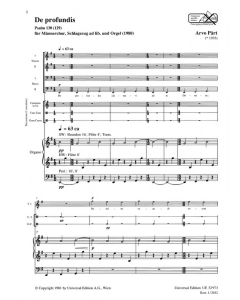 Pärt, Arvo: De profundis (Male choir (TTBB), Percussion ad lib. and Organ)