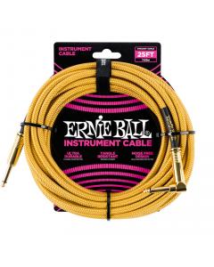 Ernie Ball Instrumentkabel - 7.5m, vinkel, guld stof