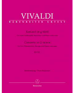 Vivaldi, Antonio: Concerto in G minor for two Violoncellos, Strings and Basso continuo (Two Violoncellos, Piano)