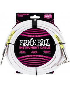 Ernie Ball Instrumentkabel 6m, vinkel, hvid