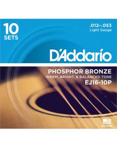 D'addario EJ16 - Light Guitarstrenge til Akustisk Guitar (10-PAK)
