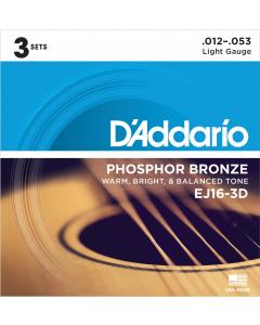 D'addario EJ16 - Light Guitarstrenge til Akustisk Guitar (3-PAK)