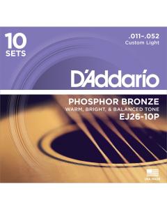 D'addario EJ26 - Custom Light Guitarstrenge til Akustisk Guitar (10-PAK)