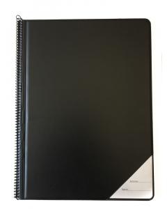 Nodemappe i sort kunstlæder med spiralryg, A4+ (20 BLÆNDFRI plastlommer)