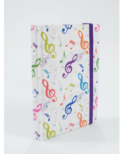 Notesbog med nodemotiv i farver (A6, 96 sider, prikkede linjer)