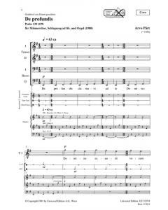 Pärt, Arvo: De profundis (Male choir (TTBB), Percussion ad lib. and Organ) - CHORAL SCORE