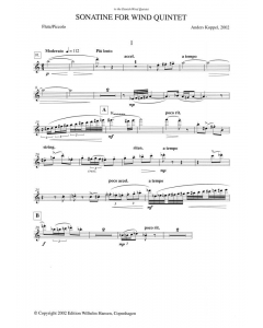Koppel, Anders: Sonatine for Wind Quintet (Set of Parts)