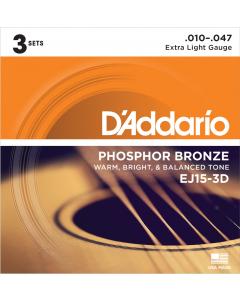 D'addario EJ15 - Extra Light Guitarstrenge til Akustisk Guitar (3-PAK)
