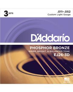 D'addario EJ26 - Custom Light Guitarstrenge til Akustisk Guitar (3-PAK)