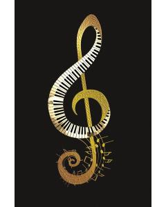 Postkort med guld G-nøgle- og klavermotiv